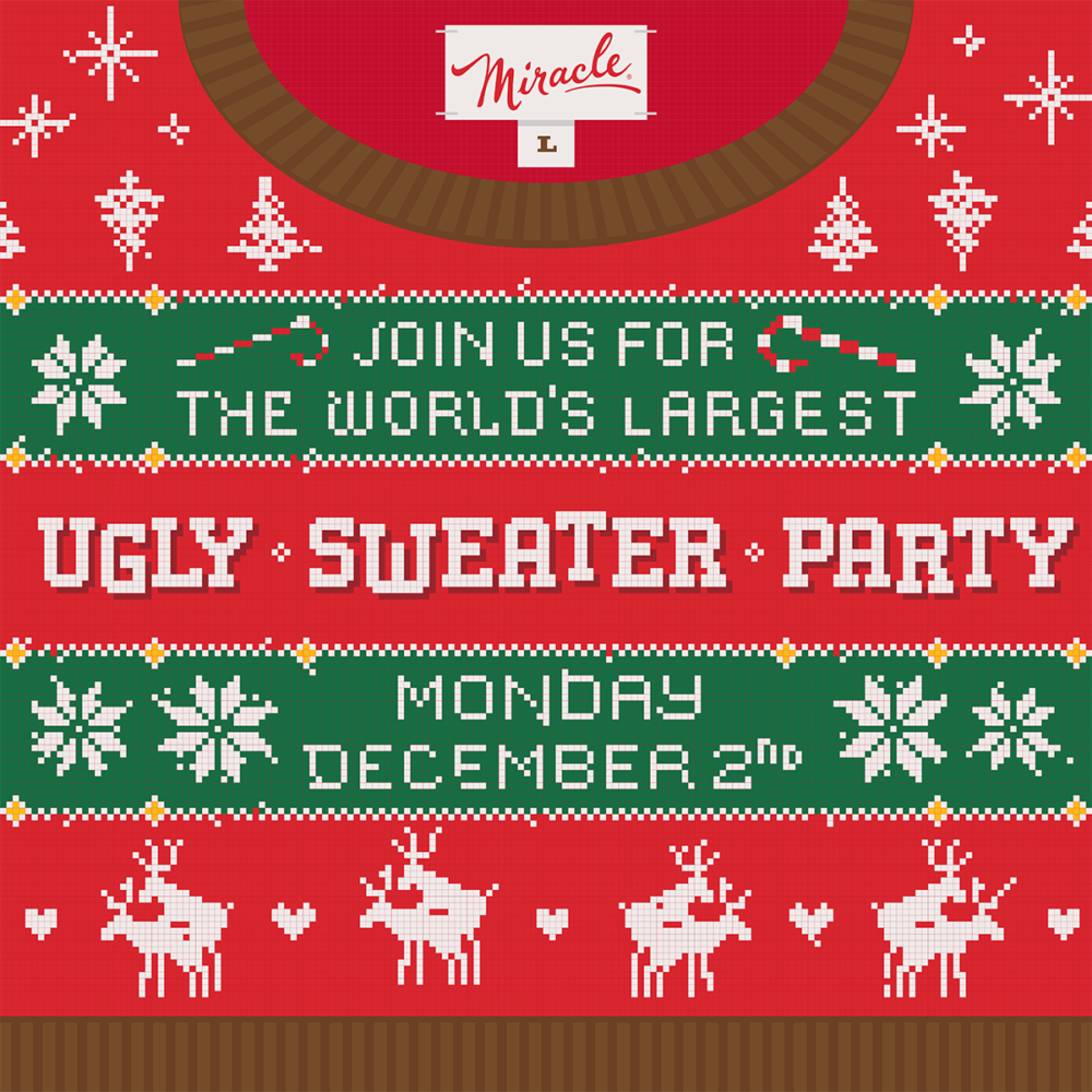 Monday, December 2, 2019: World's Largest Tacky Sweater Party