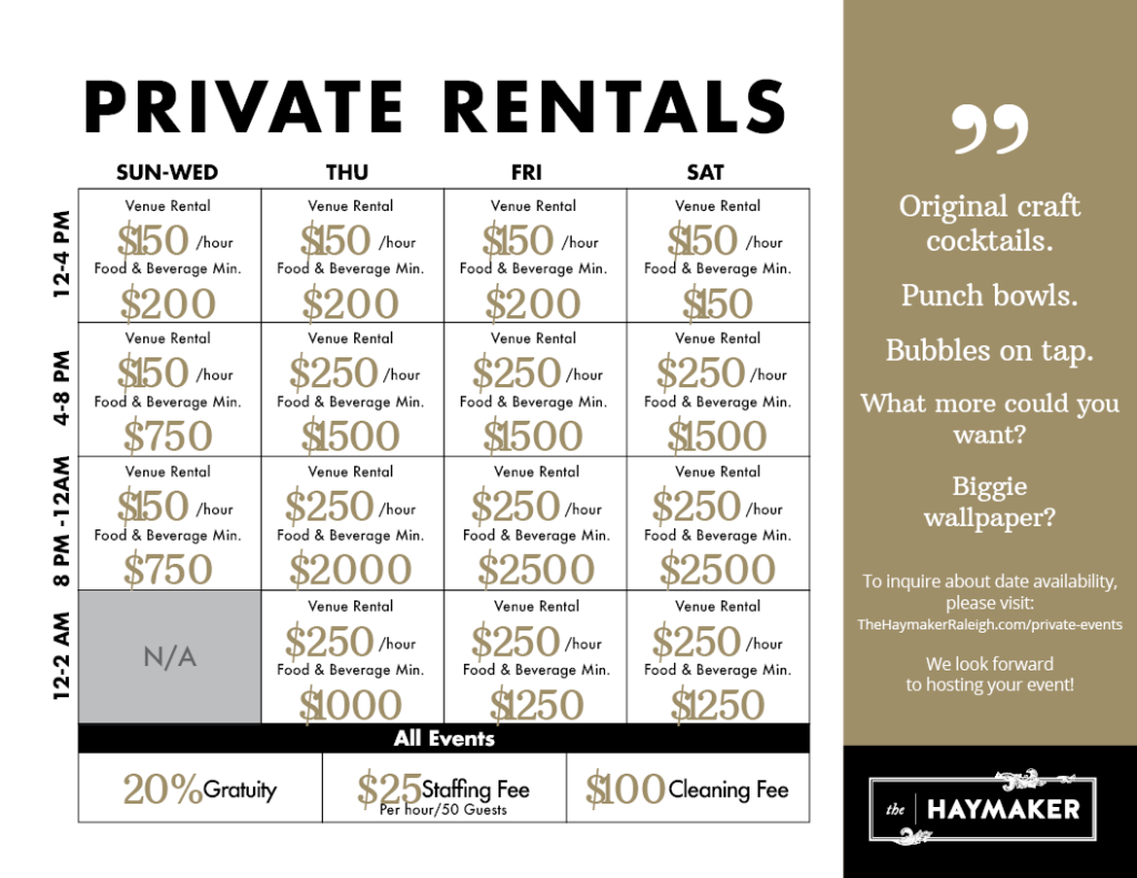 The Haymaker Raleigh Private Rental Rates